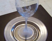 Vintage Service for Six of AVON Crystal Stemware Wine Goblets and Dessert Plates in Hummingbird Pattern