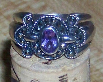Vintage Sterling Silver Ring Purple Amethyst and Marcasite Ring / February Birthstone / Valentine's Gift for Her
