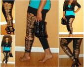 Women's Black Cut  Leggings / Tights Cut Up LARGE