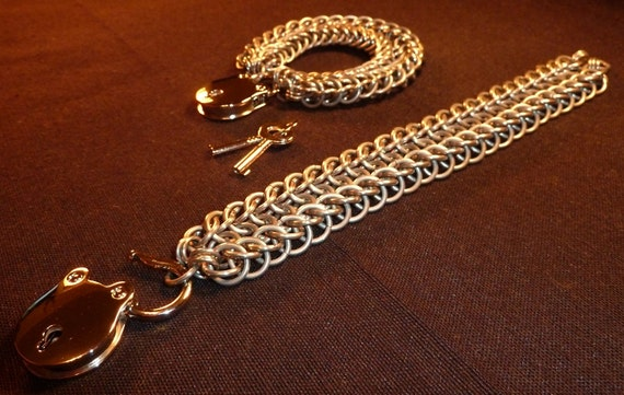 """Solid Stainless Steel, """"Ridgeway"""" Weave, Chainmail set of 2 Cuffs/Bracelets with chrome padlocks"""