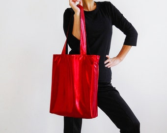 Metallic Red Tote Bag
