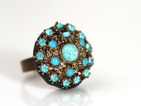 Turquoise Ring. Unique Ring with repurposed Vintage Jewelry
