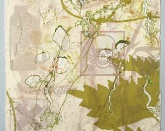 Monoprint, screenprint. Weed killer eco art. Skull. Hand pulled print. OOAK