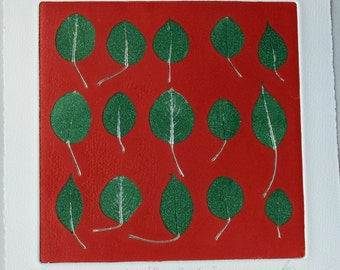 Fine Art botanical print from real leaves. Pear leaves. Hand printed Monotype. OOAK