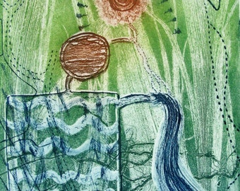 Colour Etching. Reed Bed. Environmental. Limited edition.