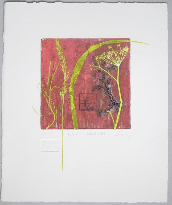 Collagraph mono print with screenprint. Wild flowers. Hand pulled print.