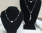Bridal Party Jewelry - 5 Custom Made Pearl and Crystal Necklaces for your Big Day