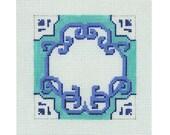 Needlepoint Handpainted Monogram Canvas - Blue and White