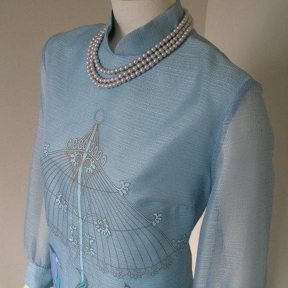 Vintage 1960s 70s Shaheen Exotic Bird Print Maxi Dress M