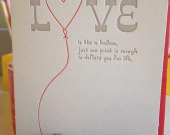 Breakup card - Love Card - Letterpress card