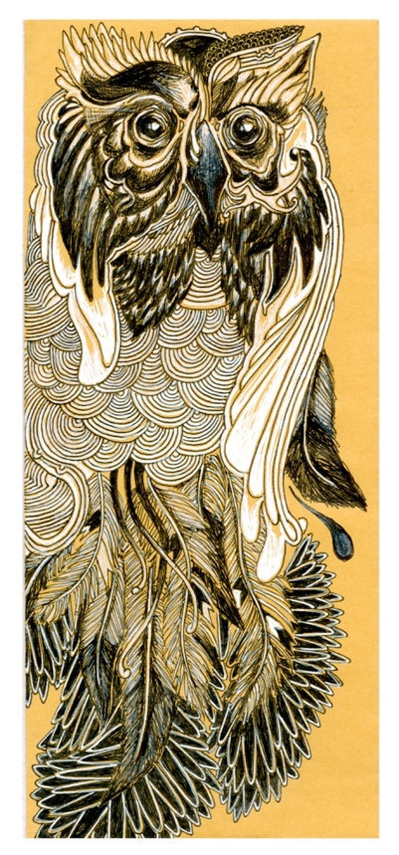 Owl Feathers Art Print - Black and white on brown drawing
