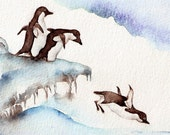 Jumping Penguins - Art Print of watercolor painting 8x10 animals Antarctica wildlife cottage cabin Christmas new year's eve celebration
