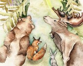 Forest Animals - Original Watercolor 10''x12'' deer bear fox rabbit hare house in forest cabin cottage whimsical animals halloween nursery