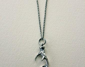 sterling silver wild deer antler necklace
