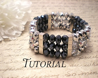 Tutorial PDF Swarovski Crystal Two Toned Sterling Silver Cuff Bangle Bracelet, Instant Download
