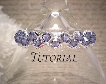 Tutorial PDF Right Angle Weave Swarovski Crystal Tennis Bracelet, Instant Download