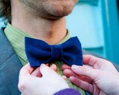 Casual in Corduroy Blue Bow Tie