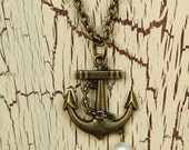 Anchor Necklace - Antique Brass - Nautical - with Pearl bead