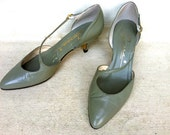 SALE - Light Gray Green Leather 70's High Heels With Cross Over Strap Size 5.5 - Designer Fashion - Sexy