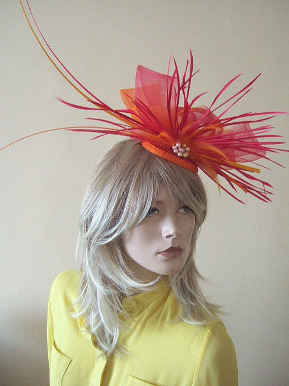 Bright Pink and Tangarine Orange Fascinator with Ostrich Quills & Feathers + Pearls - Bright Hat Kentucky Derby Ascot For the Races