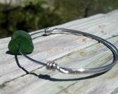 Hawaiian Dark Emerald Green Beach Glass Wire Bangle Bracelet