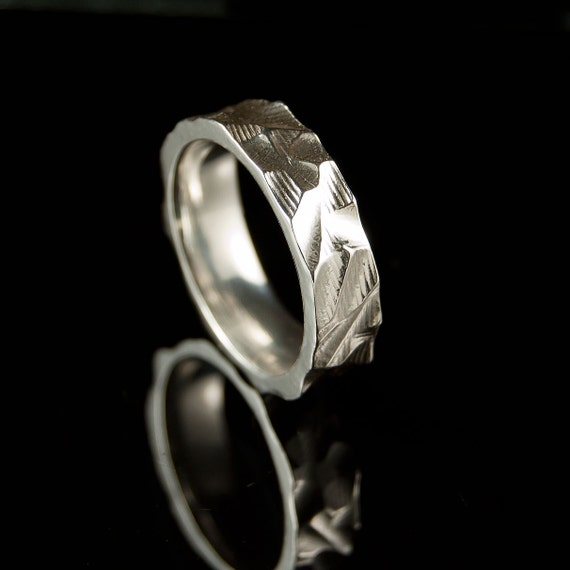 Chisel Texture Wedding Band Ring in Sterling Silver or Palladium