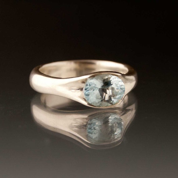 Oval Aquamarine Solitaire Engagement Ring in Sterling Silver, Silver/Palladium, Palladium or 14k Yellow Gold