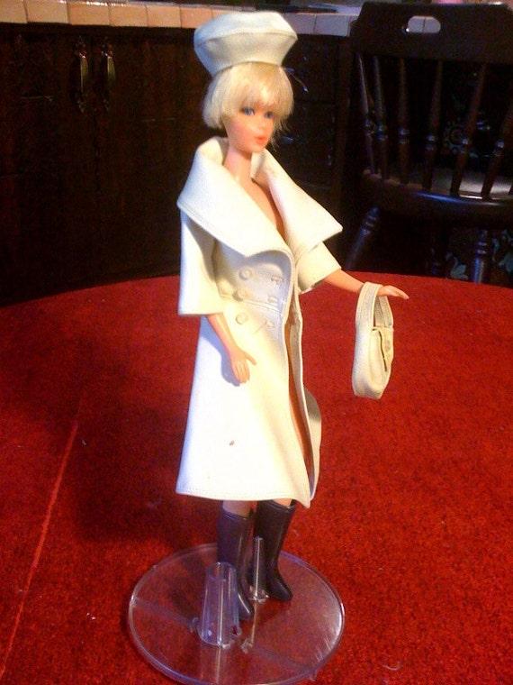 barbie off white ecru vinyl trenchcoat, hat and purse