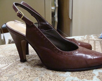 espresso VINTAGE SLINGBACK HEELS connie 40s 50s 70s 6 aa
