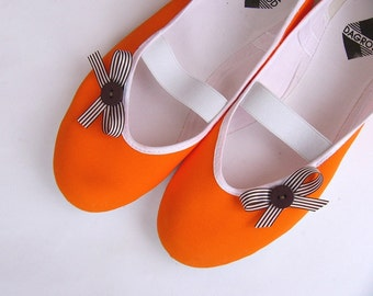orange in chocolate / brown summer ballet flats shoes tangerin bow strips mary janes woman bride poletsy fashion gift vegan
