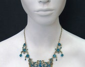 Garden Necklace made with blue zircon Swarovski Crystals and  beads and plated in 24k Gold 6119