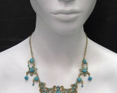 Southhampton -Turquoise Swarovski Crystal Gold Plated Necklace 6119