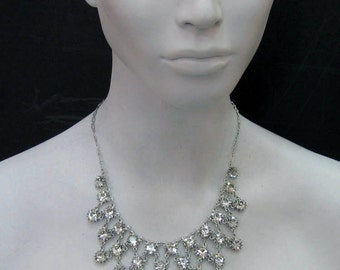 Victorian Bib necklace made with Clear Swarovski Crystals Silver Plated   708N