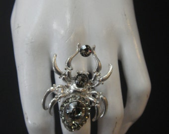 Silver Spider  Ring Made with Black Diamond swarovski Crystal 5491RNG