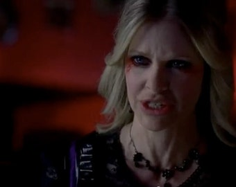 As seen on Kristin Bauer as Pam on True Blood S5 Flowe and Drop Jet(black) Black plated Necklace 3032N