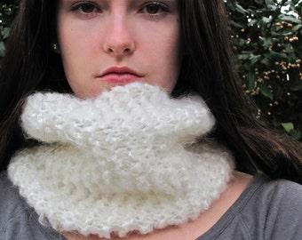 SALE: Chunky Neckwarmer Cowl Scarf, Eternity Circle Scarf | Cream White | Vegan Yarn