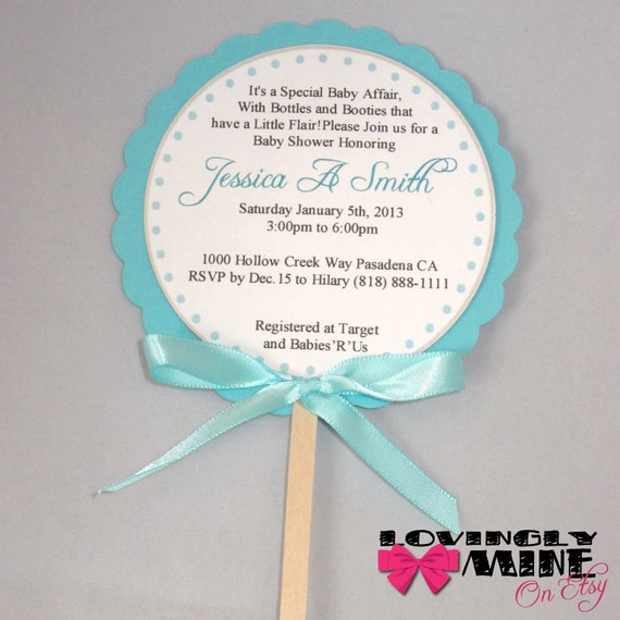 baby shower invitations tiffany co inspired lollipop invitations