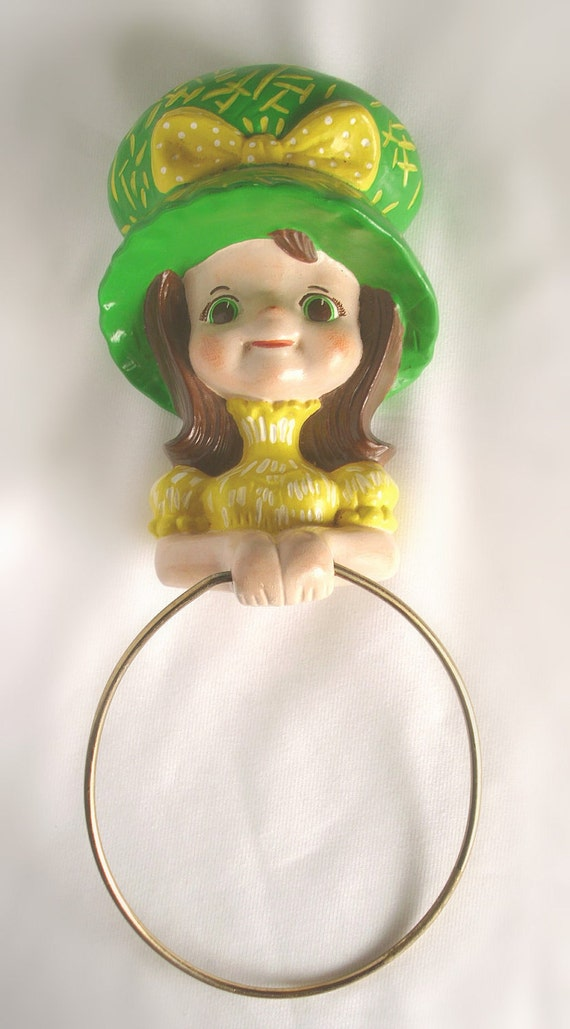 Vintage Ceramic Little Prairie Girl Towel Holder