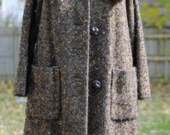 Vintage Gorgeous 50s Swing Style Nubby Brown Coat with Fur Collar
