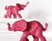 Hot Pink Baby Elephants Jungle Safari Baby Shower Decorations in Glitter for Wedding Cake Topper, Table Settings Nursery Decor. Set of 2