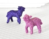Baby Lamb Easter Nursery Decor in Lilac and Grape Purple Glitter for Farm Baby Shower Decorations or Table Centerpiece by WishDaisy