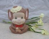 Monkey Ceramic / Figurine / Paper Weight / Home Decor  / Vintage