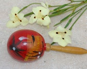 Vintage Maraca / Hand Painted / Red