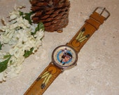 Watch / Indian Lady / Painted Leather / Never Worn Vintage