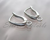 Euro Lever-backs Ear Hooks Sterling Silver  Original Shape 925 model ES9 1 pair