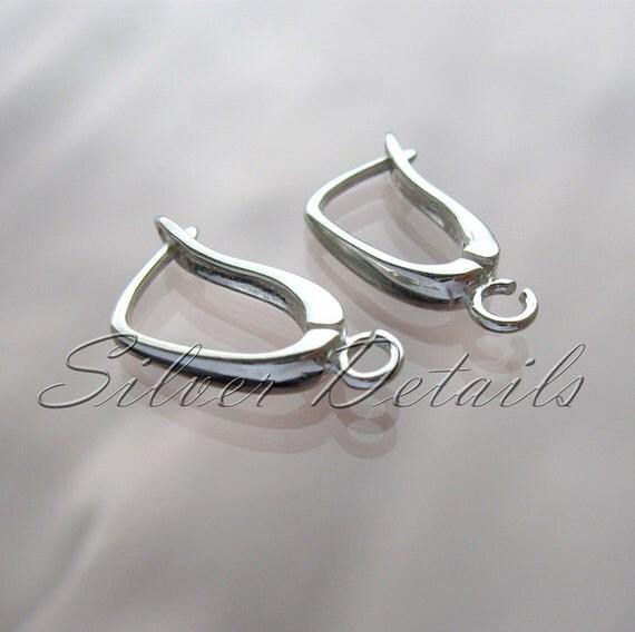 Euro Lever-backs Ear Hooks Sterling Silver  Original Shape 925 model ES9 1 pair