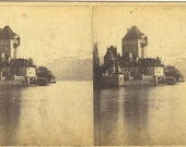 "Stereograph.  ""No. 1913. Chateau d'Obrhoffen, Switzerland, by Adolph Braun ca. 1865."