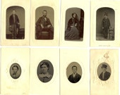 Tintype. Group of eight tintype portraits. Unknown makers.  ca. 1865