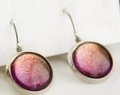 Starlight Leverback Earrings in Silver - Pink, Orange, Yellow Color Shifting Shimmer Dangle Earrings
