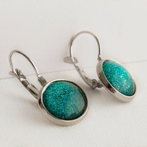 Mermaid Tears Leverback Earrings in Silver - Turquoise Blue Green Glitter Dangle Earrings